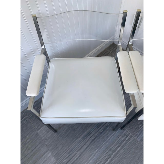 Metal 1970s Vintage Lucite Armchairs- A Pair For Sale - Image 7 of 13