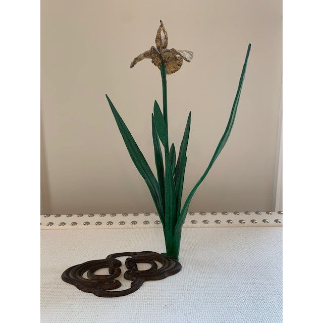Art Deco Antique French Daffodil Iron Brass Flower For Sale - Image 3 of 8