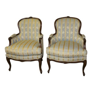 1960s French Style Carved Walnut Bergere Chairs - a Pair For Sale