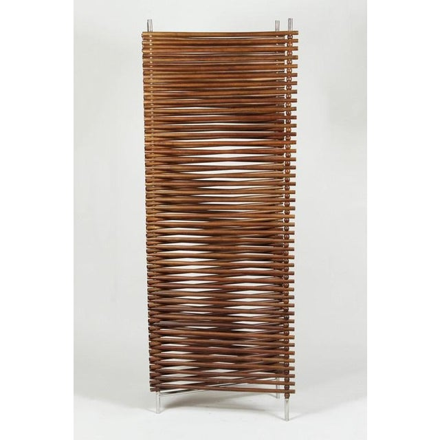 Mid Century Wood Stick & Ball Screen - Image 7 of 7