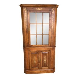 L. Hitchcock Maple Harvest Lighted 9-Pane Corner Cabinet