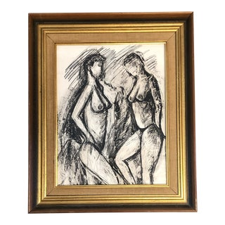 Vintage Original Double Female Nude Charcoal Drawing For Sale