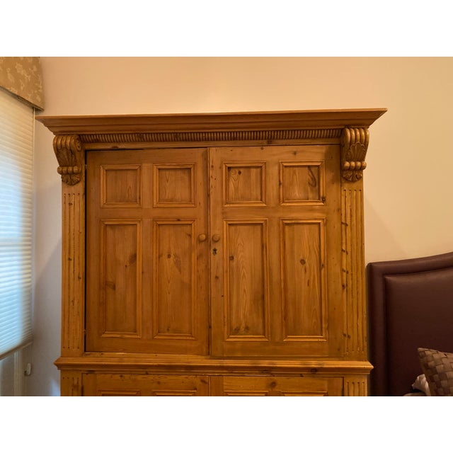 19th Century Vintage Belgian Pine Armoire For Sale In Chicago - Image 6 of 12