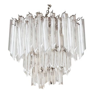 1970's Hollywood Regency Italianate Glam Lucite Waterfall 3-Tier Chandelier