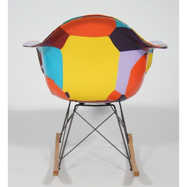 Mid-Century Modern Early Eames 1950s Rocker Updated by Artist Jim Oliveira For Sale - Image 3 of 8