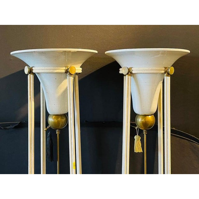 Pair of Mid-Century Modern Bronze Floor Torchiere Lamps With Porcelain Globes For Sale - Image 4 of 12