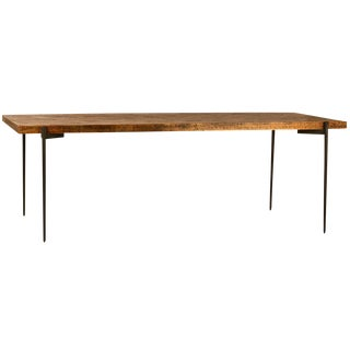 Wood Hexagon Inlay Dining Table For Sale