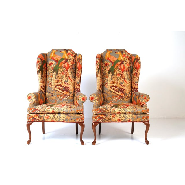 Wingback Chairs in Quilted Peacock Fabric - A Pair For Sale - Image 9 of 9