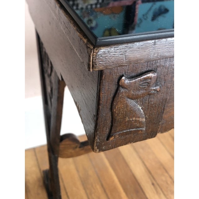 Antique English Carved Oak End Table With Crown and Black Glass Top For Sale - Image 4 of 11