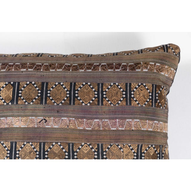 Asian Chinese Silk Ribbon Pillow For Sale - Image 3 of 6