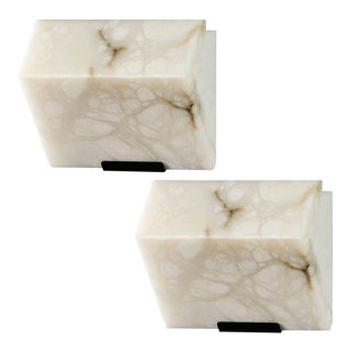Pierre Chareau Edition Modern Single Block Model #185 Sconces - A Pair For Sale