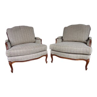 Bergere Lounge Chair Pair Ethan Allen French Louis XV Style For Sale