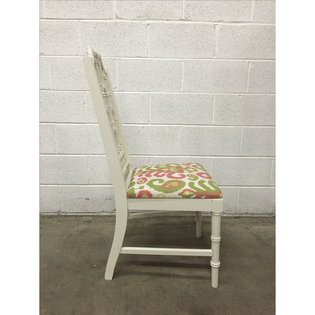White Bamboo Chair W/ Duralee Pink & Green Seat - Image 3 of 8