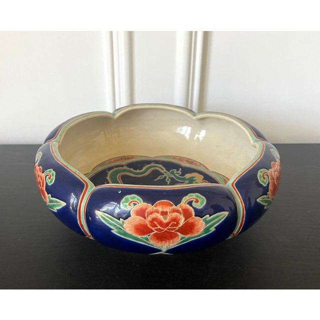 Blue Japanese Ceramic Glazed Bowl Makuzu Kozan Meiji Period For Sale - Image 8 of 13
