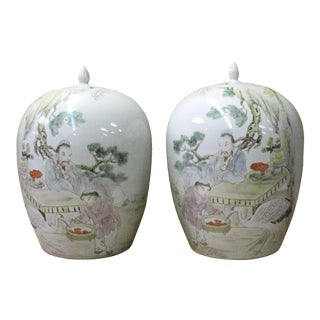 Pair Chinese White Porcelain People Scenery Graphic Point Lid Jars