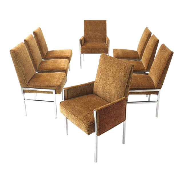 Vintage Mid Century Chrome Frame New Upholstery Dining Chairs- Set of 8 For Sale