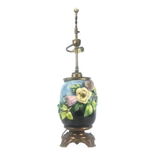 Antique Barbotine Majolica Lamp- French Floral Table Lamp For Sale