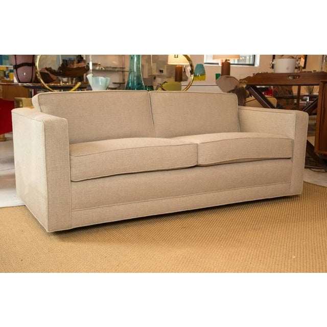 Mid-Century Knoll Sofa in Custom Linen - Image 2 of 6