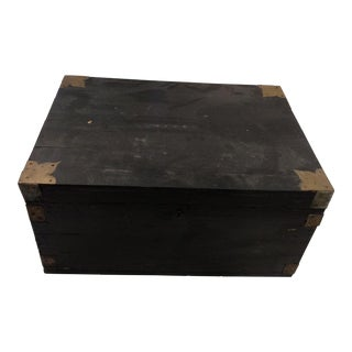 1920s Anglo-Indian Ebony Wood Campaign Chest