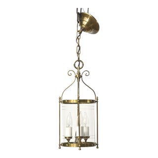 Early 20th Cenutury Small Brass and Glass Lantern For Sale