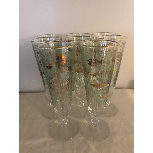 """Glass 1950s Mid-Century Libbey """"Marine Life"""" Pilsner Flutes - Set of 8 For Sale - Image 7 of 7"""