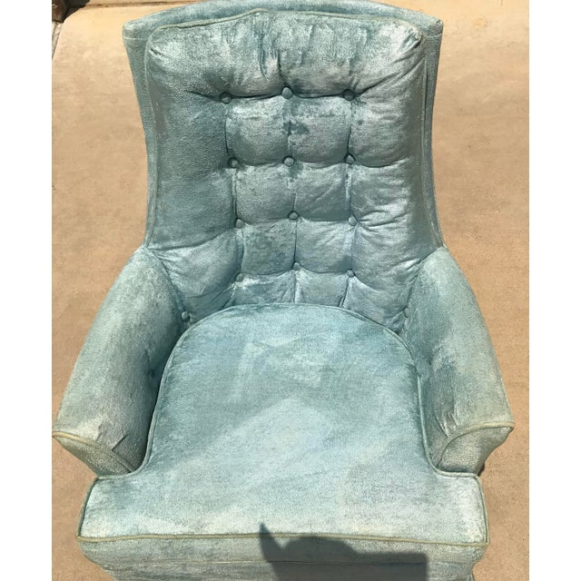 Vintage Baby Blue Velvet Swivel Rocker For Sale In Dallas - Image 6 of 13