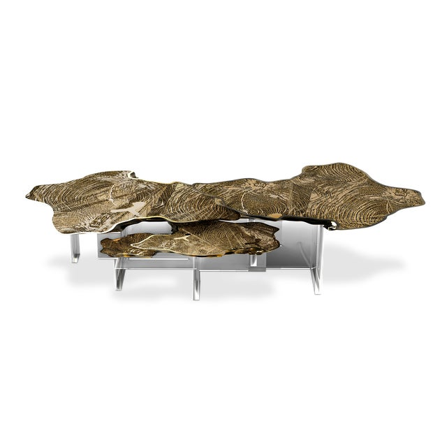 Contemporary Monet Gold Center Table For Sale - Image 3 of 3