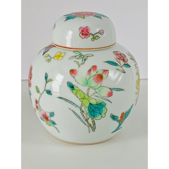 Chinoiserie Vintage Chinese Floral Ginger Jar For Sale - Image 3 of 11