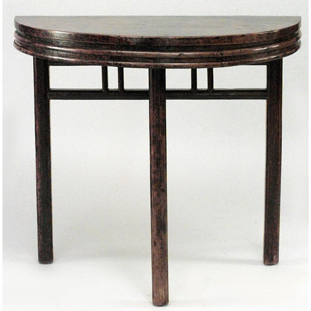 Asian Chinese Style Teak Half Round 3 Legged Console Tables- a Pair For Sale - Image 4 of 5