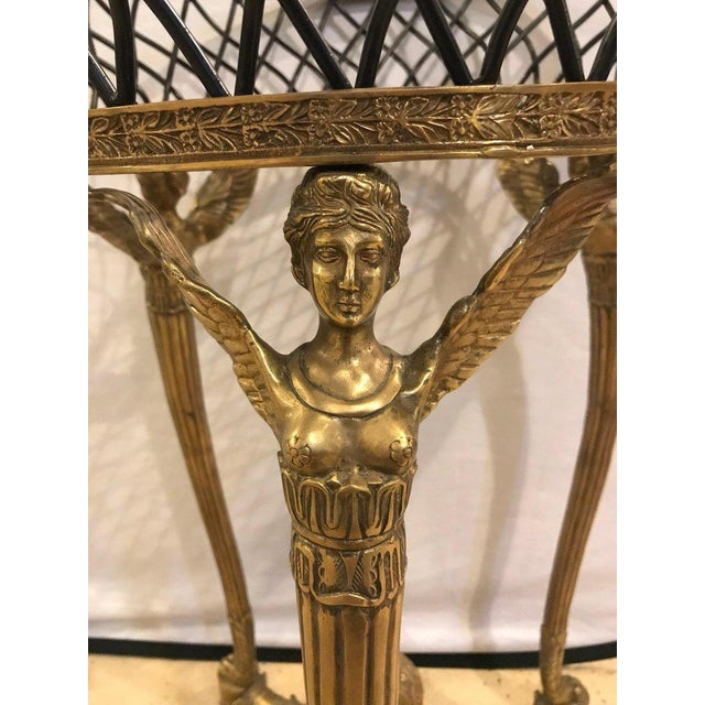 19th-20th Early Empire Bronze Basket or Jardinière on Figural Gilt Bronze Stand For Sale - Image 10 of 13