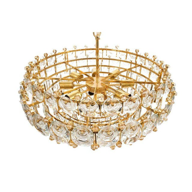 1960s Exceptional Large Gilt Brass and Glass Chandelier Lamp, Palwa circa 1960 For Sale - Image 5 of 11