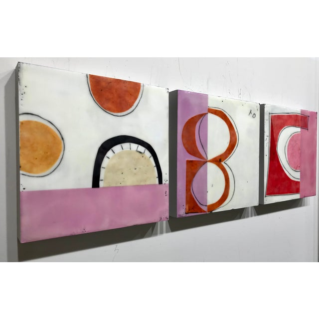 """Pink Gina Cochran """"Perceptions No. 15"""" Encaustic Collage Painting For Sale - Image 8 of 8"""