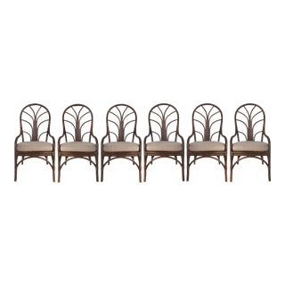 Vintage Tropical Bent Rattan Dining Chairs-Set of 6 For Sale