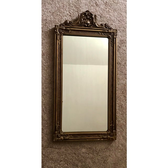 Brown Antique Hand Carved Wood Mirror For Sale - Image 8 of 8