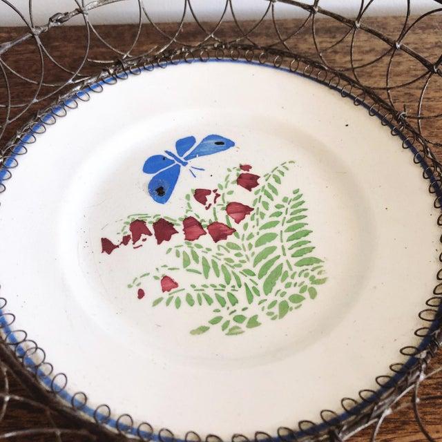 1900 - 1909 Antique Majolica Plate in Wire Bowl For Sale - Image 5 of 8