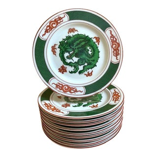 Set/10 Fitz Floyd Dragon Crest Green Plates For Sale
