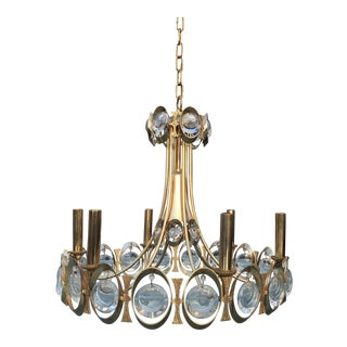 1970s Gold Brass and Crystal Palwa Chandelier Sciolari For Sale