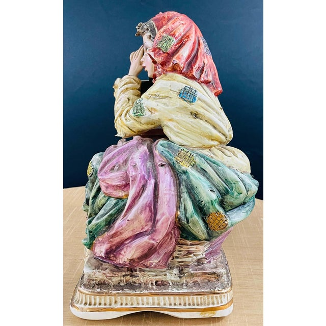 1960s 1960's Vintage Italian Porcelain Pensive Farmer Girl Sculpture or Statue For Sale - Image 5 of 12