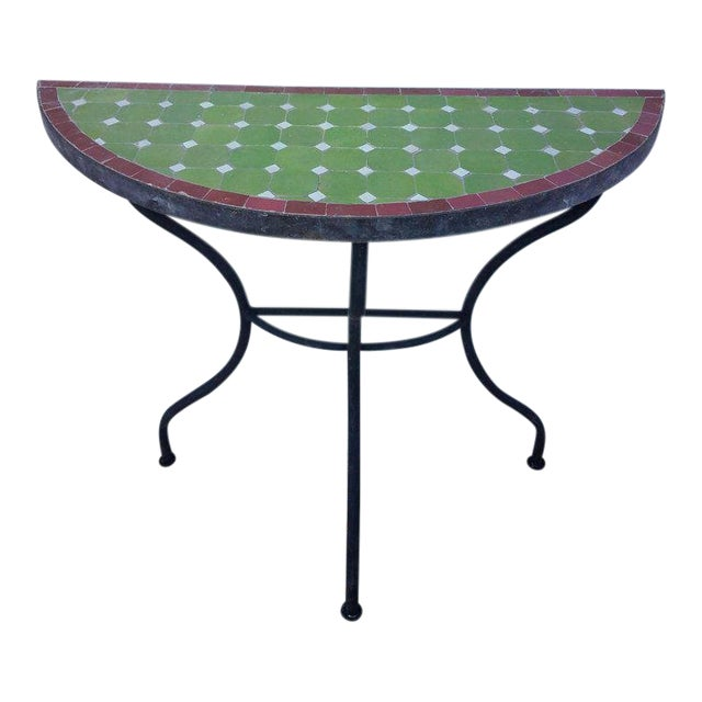 Moroccan Lime Green and Red Trim Mosaic Demilune Table For Sale