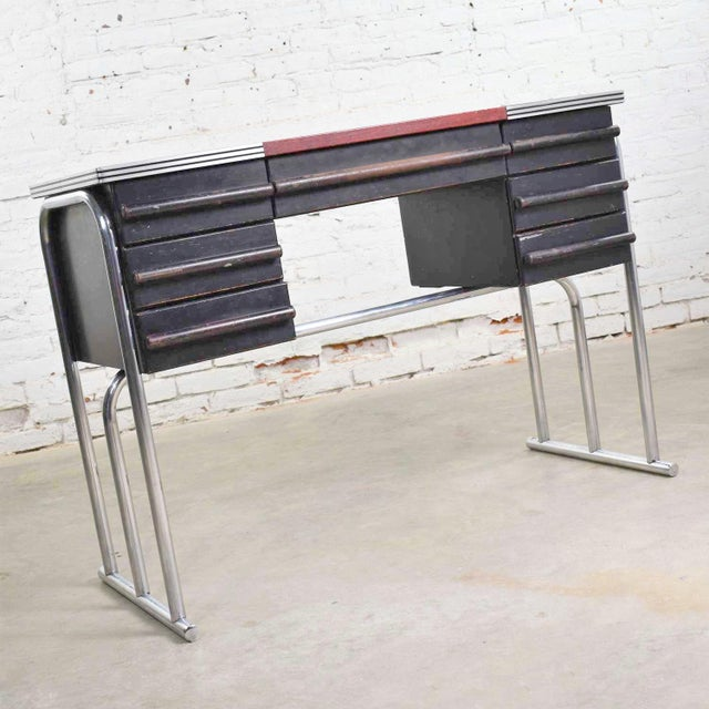 1930s Art Deco Machine Age International Style Chrome & Black Desk Gilbert Rohde Attribution For Sale - Image 5 of 13