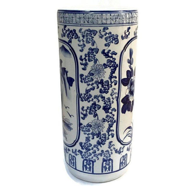 Beautiful Vintage Chinese Porcelain Umbrella Stand, Chinoiserie Umbrella Stand, Cobalt Blue and White Porcelain Cane...