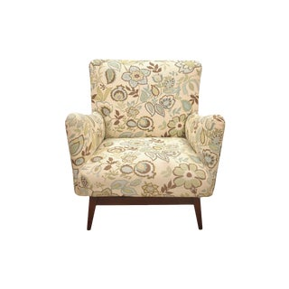 Mid Century Modern Jens Risom Floral Ivory Club Chair For Sale