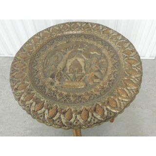 Large Vintage Repoussé Indian Decorative Round Tray Side Table With Wood Stand Preview