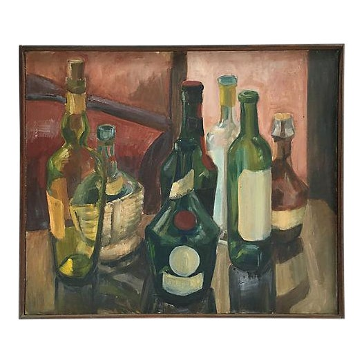 Vintage 1970s French Wine Bottles Still Life Oil Painting For Sale