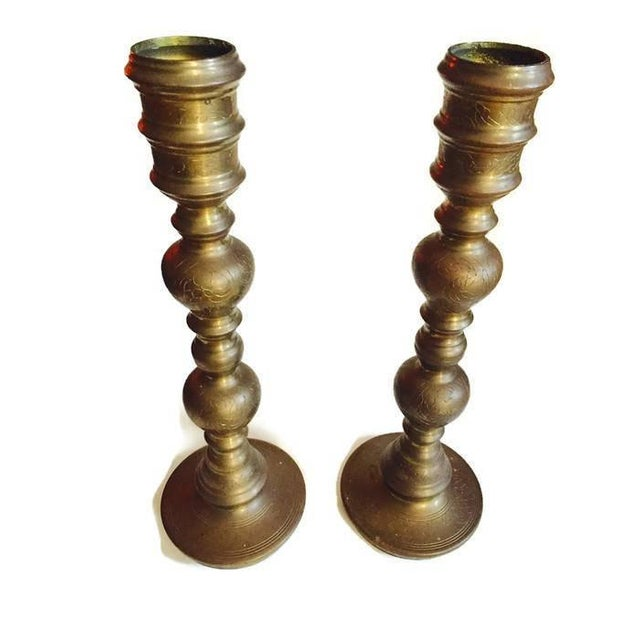 Vintage Etched Brass Candle Holders or Lamp Bases - A PAIR - Image 3 of 11