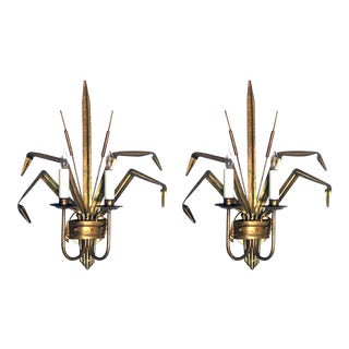 Italian 1960's Gilt-Tole 2-Arm Cattail Wall Lights/Sconces - a Pair For Sale