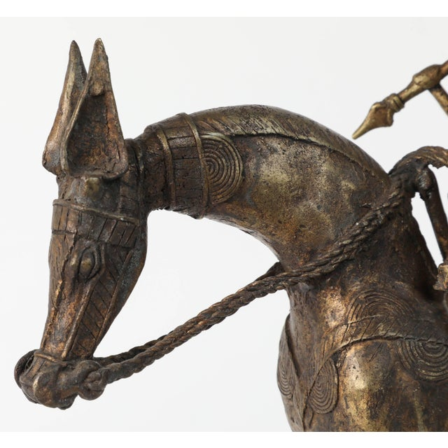 African Brass Sculpture of a Tribal Warrior on Horse For Sale - Image 4 of 9