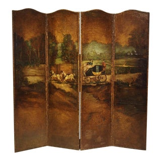Antique Painted English Four Panel Leather Screen, 19th Century For Sale