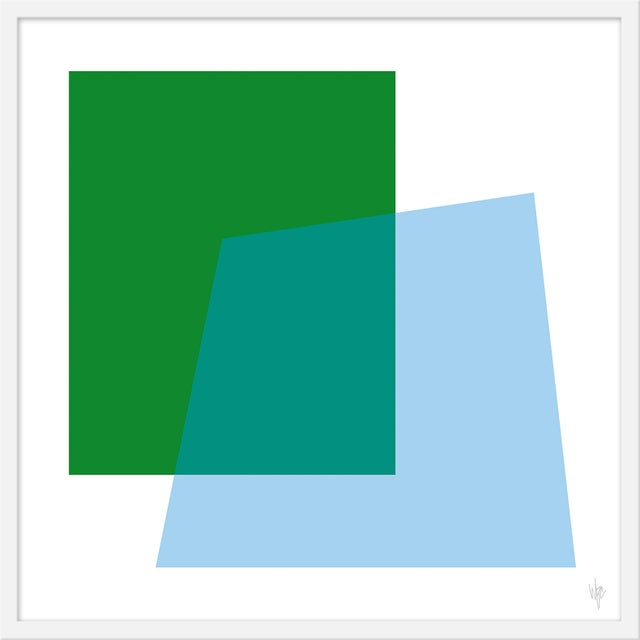 "Contemporary Medium ""Intersection Green and Blue"" Print by Wendy Concannon, 31"" X 31"" For Sale - Image 3 of 3"
