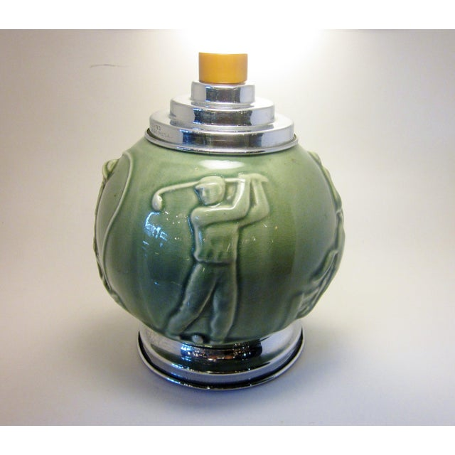 Vintage Art Deco Rookwood Pottery Sports and Leisure Figural Theme Chrome Detail Bakelite Handle Cigarette Dispenser For Sale - Image 9 of 10